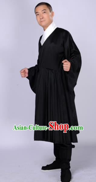 Chinese Traditional Ming Dynasty Scholar Costumes Ancient Swordsman Black Robe for Men