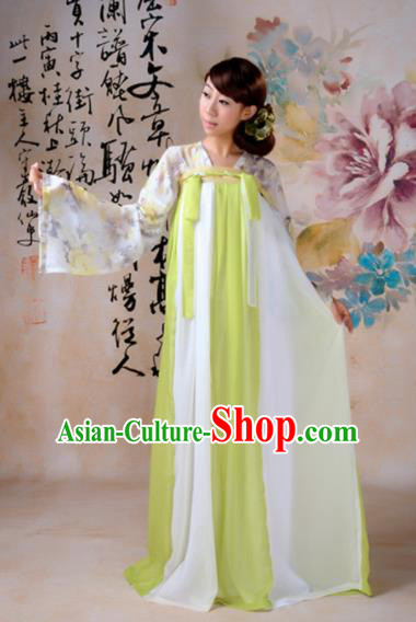 Traditional Chinese Tang Dynasty Palace Dance Costume Ancient Princess Green Hanfu Dress for Women