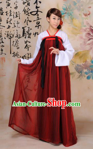 Traditional Chinese Tang Dynasty Palace Dance Costume Ancient Princess Red Hanfu Dress for Women