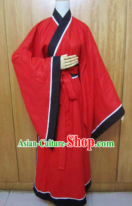 Chinese Traditional Han Dynasty Scholar Costumes Ancient Swordsman Red Robe for Men