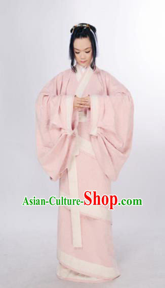 Traditional Chinese Han Dynasty Marquise Costume Ancient Palace Lady Pink Curving-Front Robe for Women