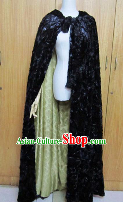 Traditional Chinese Ming Dynasty Black Cloak Ancient Swordsman Costume for Women