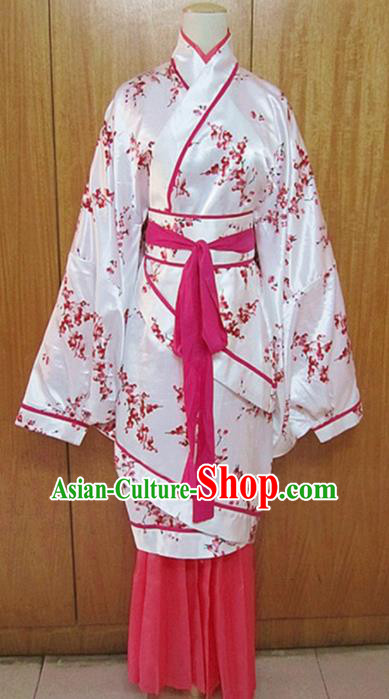 Traditional Chinese Han Dynasty Princess Rosy Hanfu Dress Ancient Fairy Costume for Women