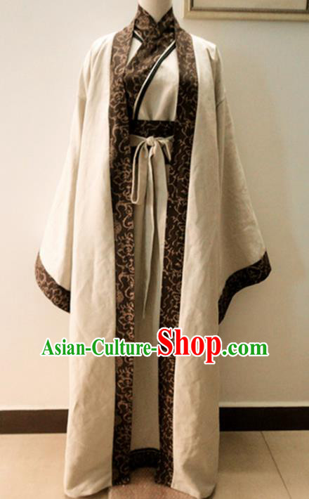Chinese Traditional Han Dynasty Scholar Costumes Ancient Nobility Childe Robe for Men