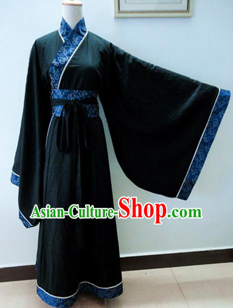 Chinese Traditional Han Dynasty Scholar Costumes Ancient Nobility Childe Black Robe for Men