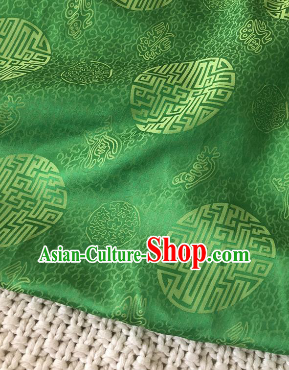 Asian Chinese Traditional Fabric Classical Pattern Green Brocade Cloth Silk Fabric