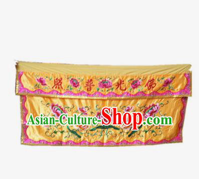 Traditional Chinese Beijing Opera Props Flag Embroidered Lotus Altar Antependium Banner
