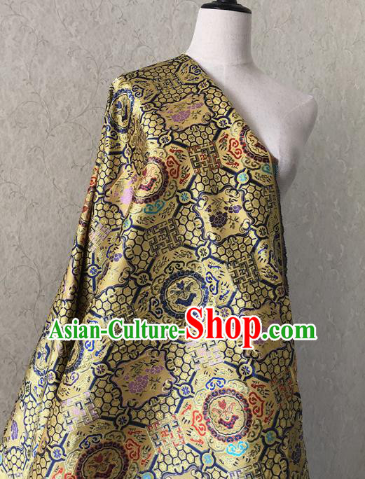 Asian Chinese Traditional Fabric Classical Pattern Golden Brocade Cheongsam Cloth Silk Fabric