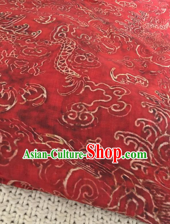 Asian Chinese Traditional Fabric Classical Dragon Pattern Red Brocade Cheongsam Cloth Silk Fabric