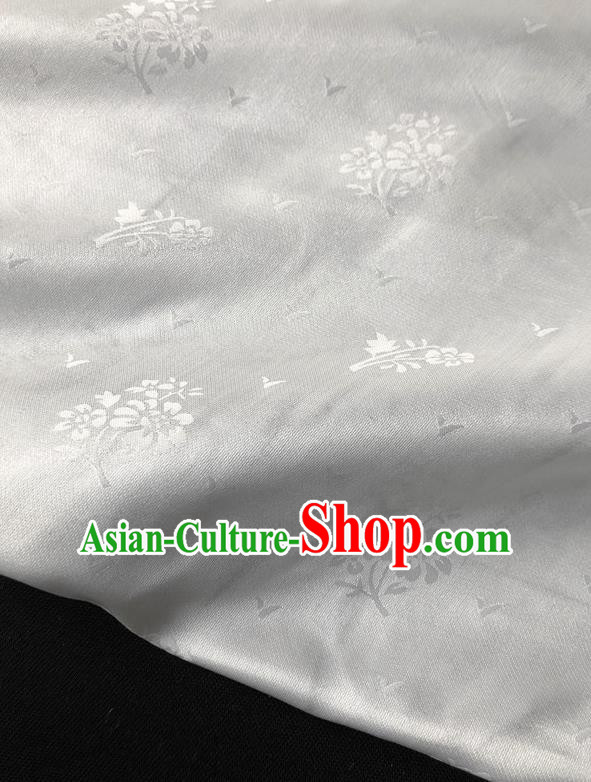 Asian Chinese Traditional Fabric Classical Pattern White Brocade Cheongsam Cloth Silk Fabric