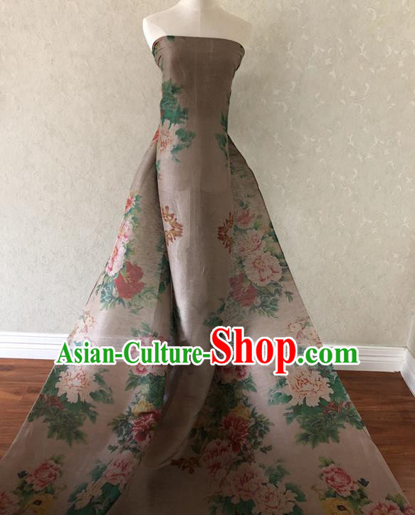 Asian Chinese Traditional Fabric Classical Printing Peony Pattern Brocade Cheongsam Cloth Silk Fabric