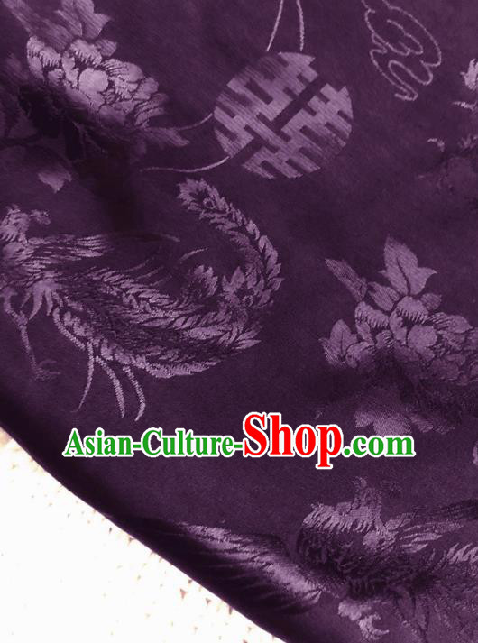 Asian Chinese Traditional Fabric Classical Phoenix Peony Pattern Purple Brocade Cheongsam Cloth Silk Fabric