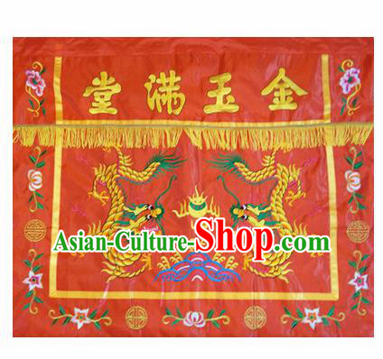 Traditional Chinese Beijing Opera Props Flag Embroidered Double Dragons Square Table Antependium Banner