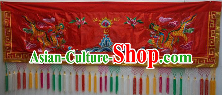 Traditional Chinese Beijing Opera Props Flag Embroidered Dragons Altar Antependium Red Banner