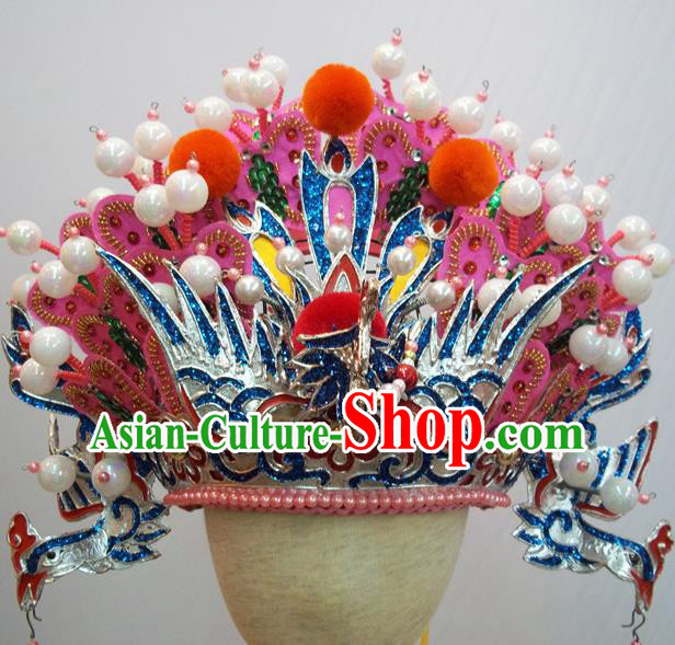 Traditional Chinese Beijing Opera Diva Hair Accessories Queen Pink Phoenix Coronet Headwear for Kids