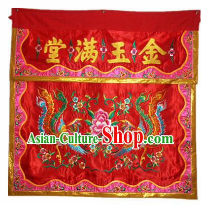 Traditional Chinese Beijing Opera Props Flag Embroidered Phoenix Peony Altar Antependium Banner