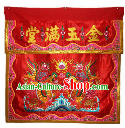 Traditional Chinese Beijing Opera Props Flag Embroidered Dragons Red Altar Antependium Banner