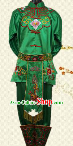 Traditional Chinese Beijing Opera Swordsman Costume Takefu Embroidered Green Clothing for Adults