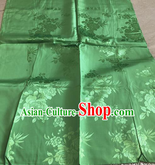 Asian Chinese Traditional Fabric Peony Pattern Green Brocade Cloth