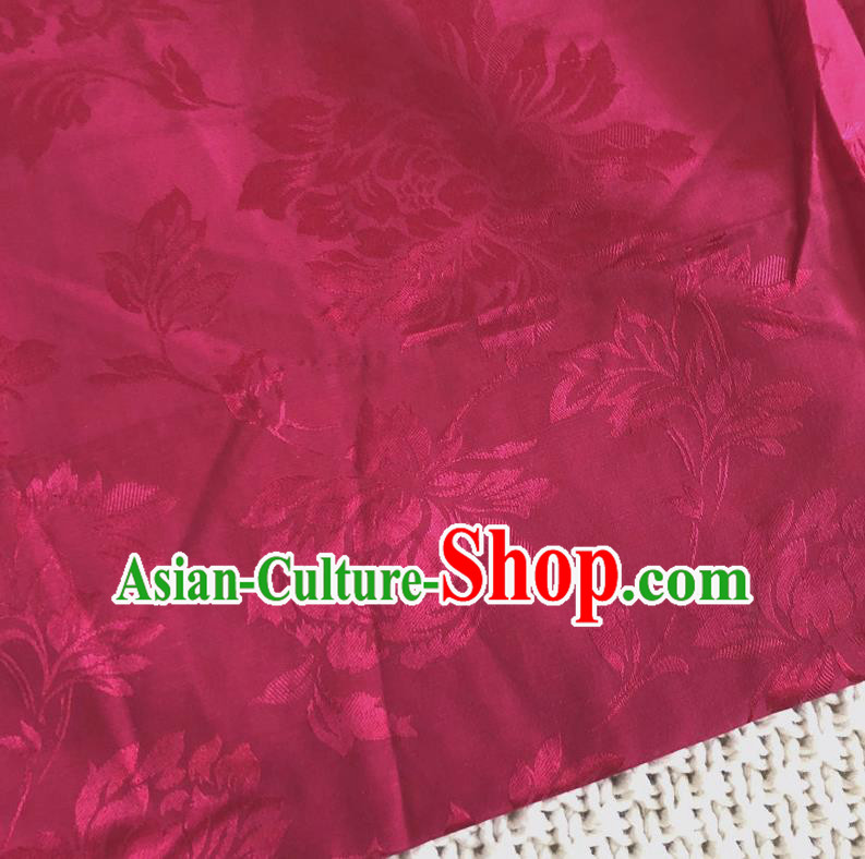 Asian Chinese Traditional Fabric Peony Pattern Rosy Brocade Cloth Silk Fabric