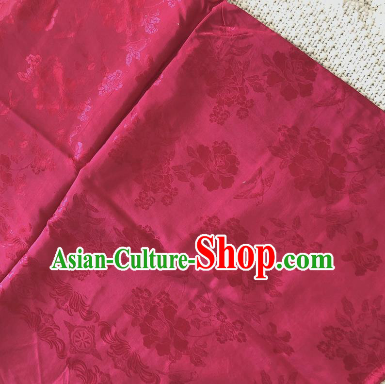 Asian Chinese Traditional Fabric Palace Peony Pattern Rosy Brocade Cloth Silk Fabric