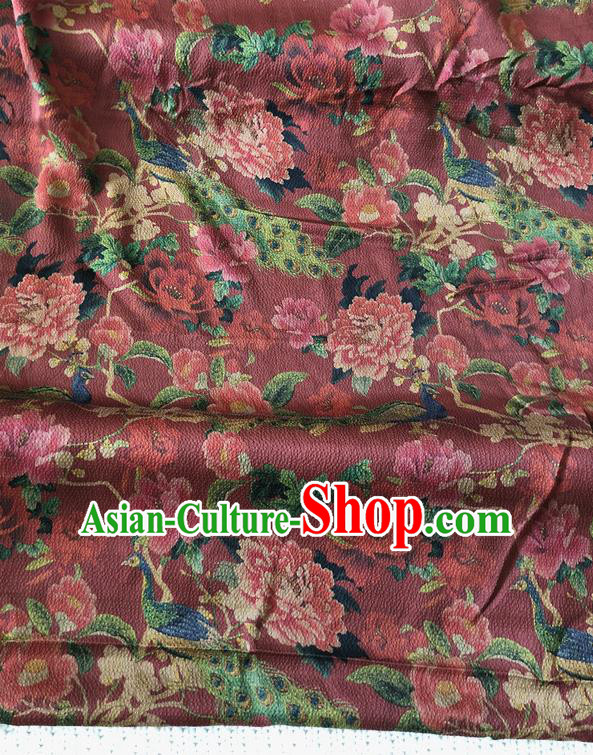 Asian Chinese Traditional Fabric Palace Peacock Peony Pattern Brocade Cloth Silk Fabric