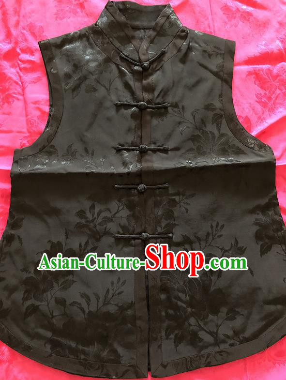 Traditional Chinese Handmade Costume Tang Suit Embroidered Black Vest for Women
