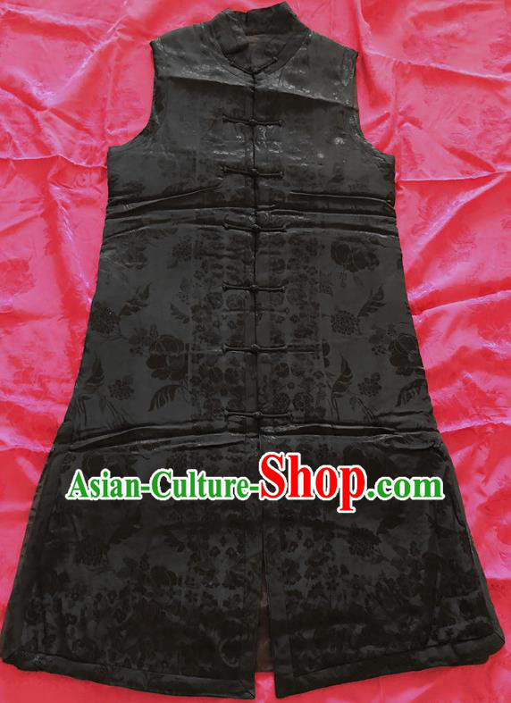 Traditional Chinese Handmade Costume Tang Suit Waistcoat Embroidered Black Brocade Vest for Women