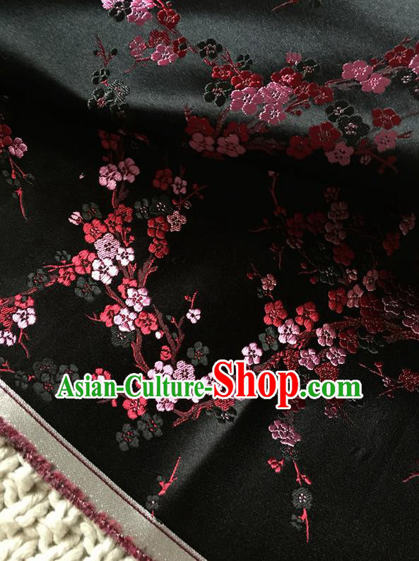 Asian Chinese Traditional Black Silk Fabric Royal Plum Blossom Pattern Brocade Cheongsam Cloth Silk Fabric