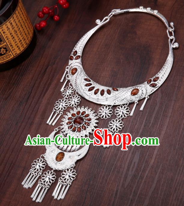 Chinese Traditional Jewelry Accessories Miao Minority Tassel Brown Necklace for Women