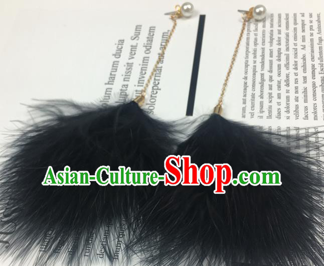 Traditional Chinese Bride Jewelry Accessories Black Feather Earrings for Women