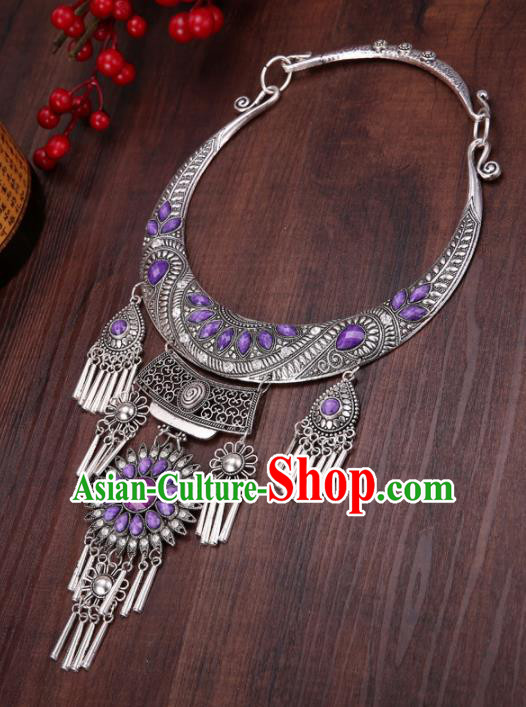 Chinese Traditional Jewelry Accessories Miao Minority Tassel Purple Necklace for Women
