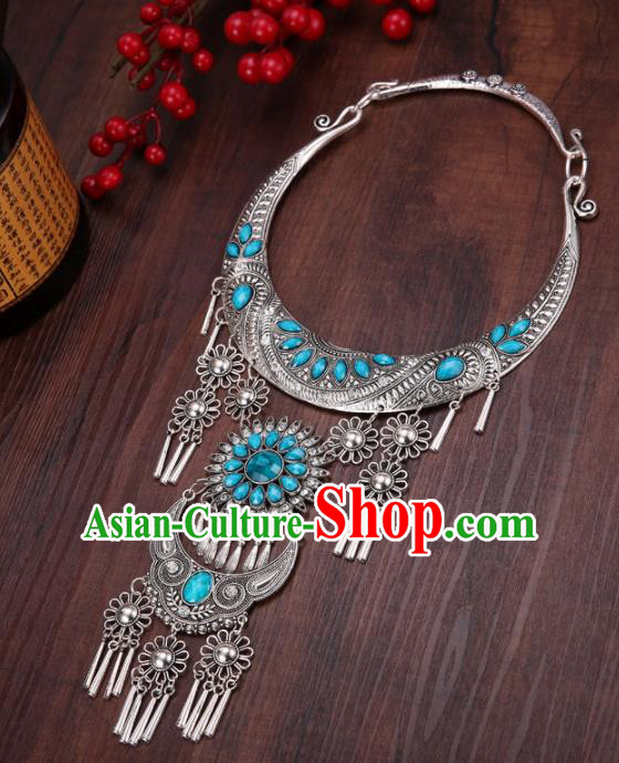 Chinese Traditional Jewelry Accessories Miao Minority Tassel Blue Necklace for Women