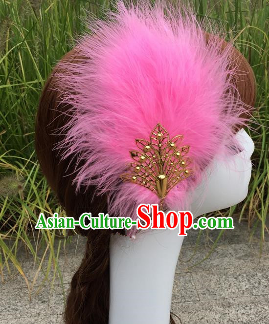 Traditional Chinese Bride Hair Accessories Folk Dance Pink Feather Hair Stick for Kids
