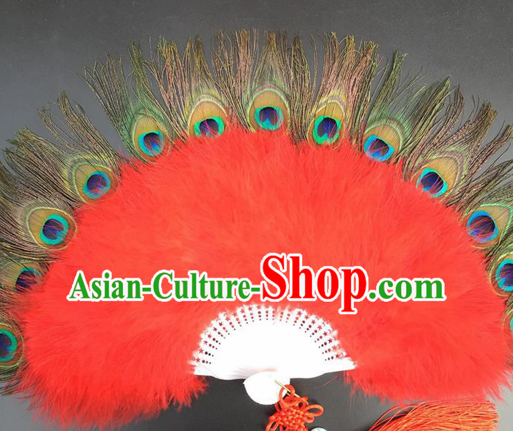 Traditional Chinese Crafts Peacock Feather Folding Fan China Folk Dance Red Feather Fans