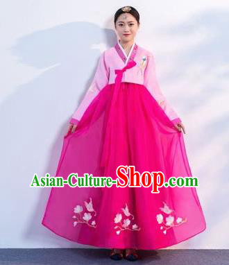 Top Grade Korean Traditional Costumes Asian Korean Hanbok Bride Pink Blouse and Rosy Skirt for Women