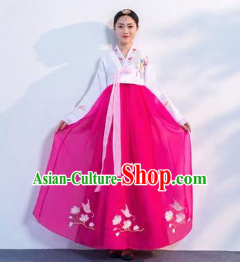 Top Grade Korean Traditional Costumes Asian Korean Hanbok Bride White Blouse and Rosy Skirt for Women