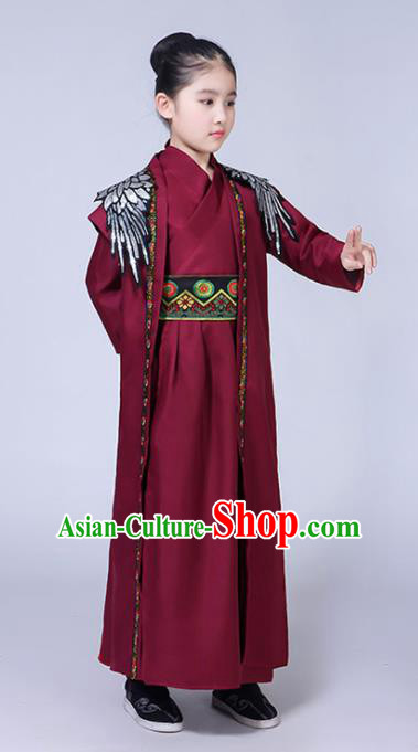 Chinese Han Dynasty Swordsman Costume Ancient Knight Hanfu Clothing for Kids