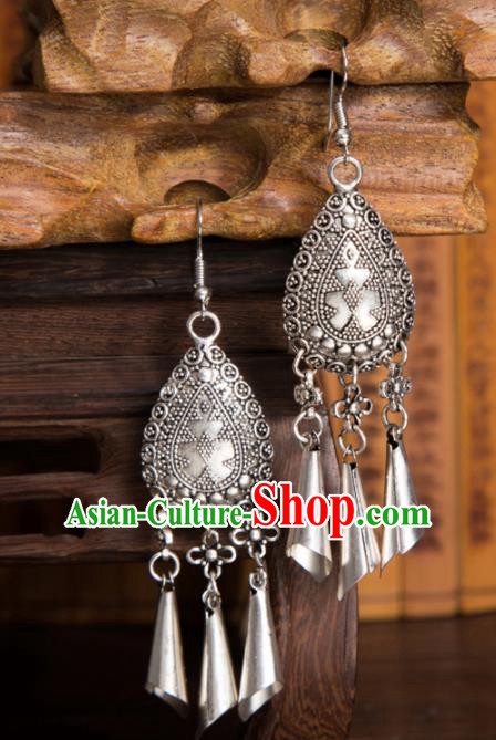 Chinese Traditional Jewelry Accessories Miao Minority Tassel Earrings for Women