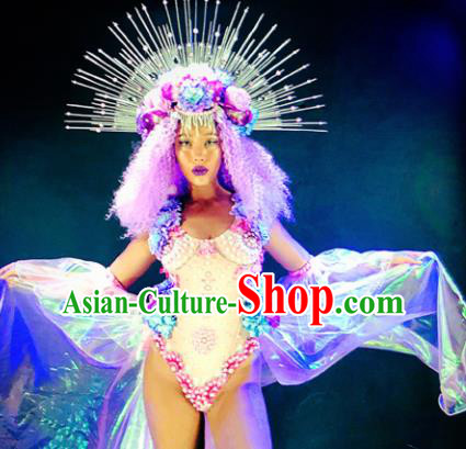 Professional Stage Performance Costume Halloween Cosplay Clothing and Headwear for Women