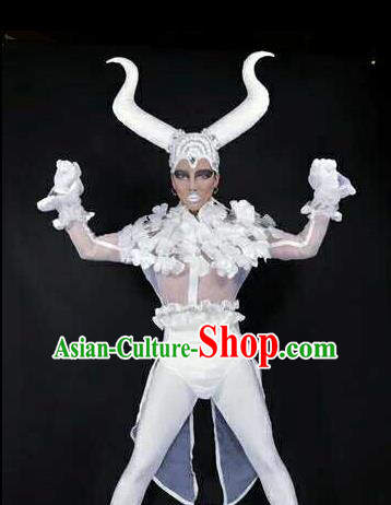 Professional Stage Performance Costume Halloween Cosplay Clown White Clothing and Feather Headwear for Men