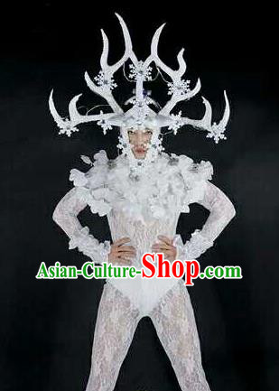 Professional Stage Performance Costume Halloween Cosplay Clown White Clothing and Antlers Headwear for Men