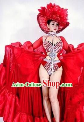 Professional Stage Performance Halloween Costume Brazilian Carnival Red Clothing and Headwear for Women