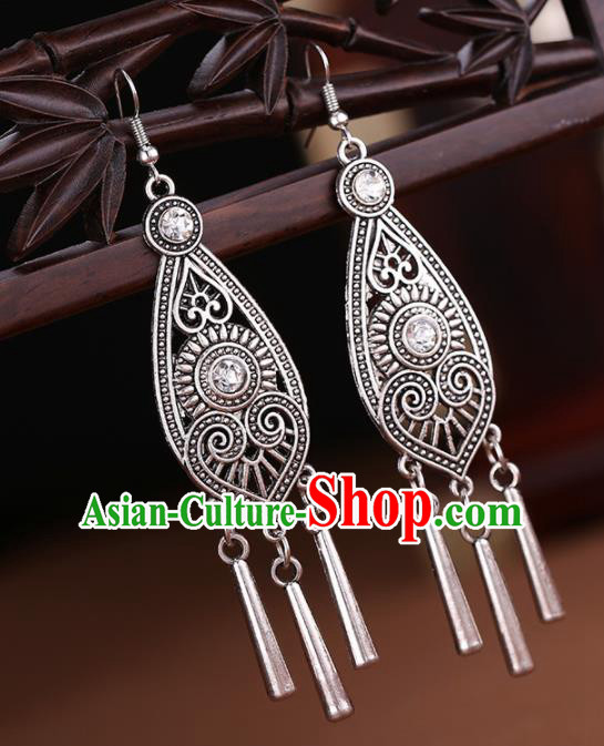Chinese Traditional Wedding Jewelry Accessories Miao Minority Tassel Earrings for Women