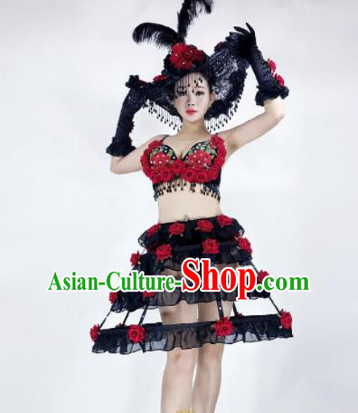 Professional Stage Performance Halloween Costume Brazilian Carnival Black Dress and Headwear for Women