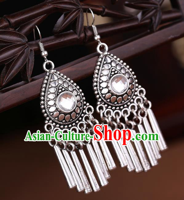 Chinese Traditional Jewelry Accessories Miao Minority Wedding Sliver Tassel Earrings for Women
