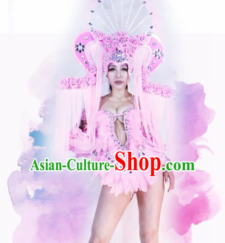 Professional Stage Performance Costume Halloween Cosplay Pink Feather Clothing and Headwear for Women