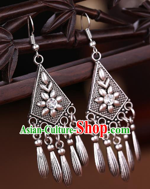 Chinese Traditional Sliver Jewelry Accessories Miao Minority Wedding Tassel Earrings for Women