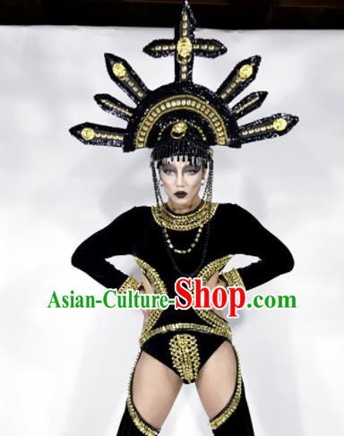 Professional Stage Performance Costume Halloween Cosplay Black Clothing and Headwear for Women