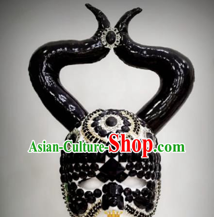 Professional Stage Performance Hair Accessories Brazilian Carnival Bull Horn Mask and Headwear for Women